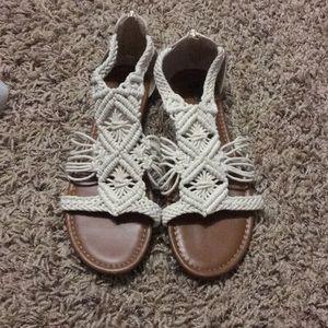 Cream knit sandals
